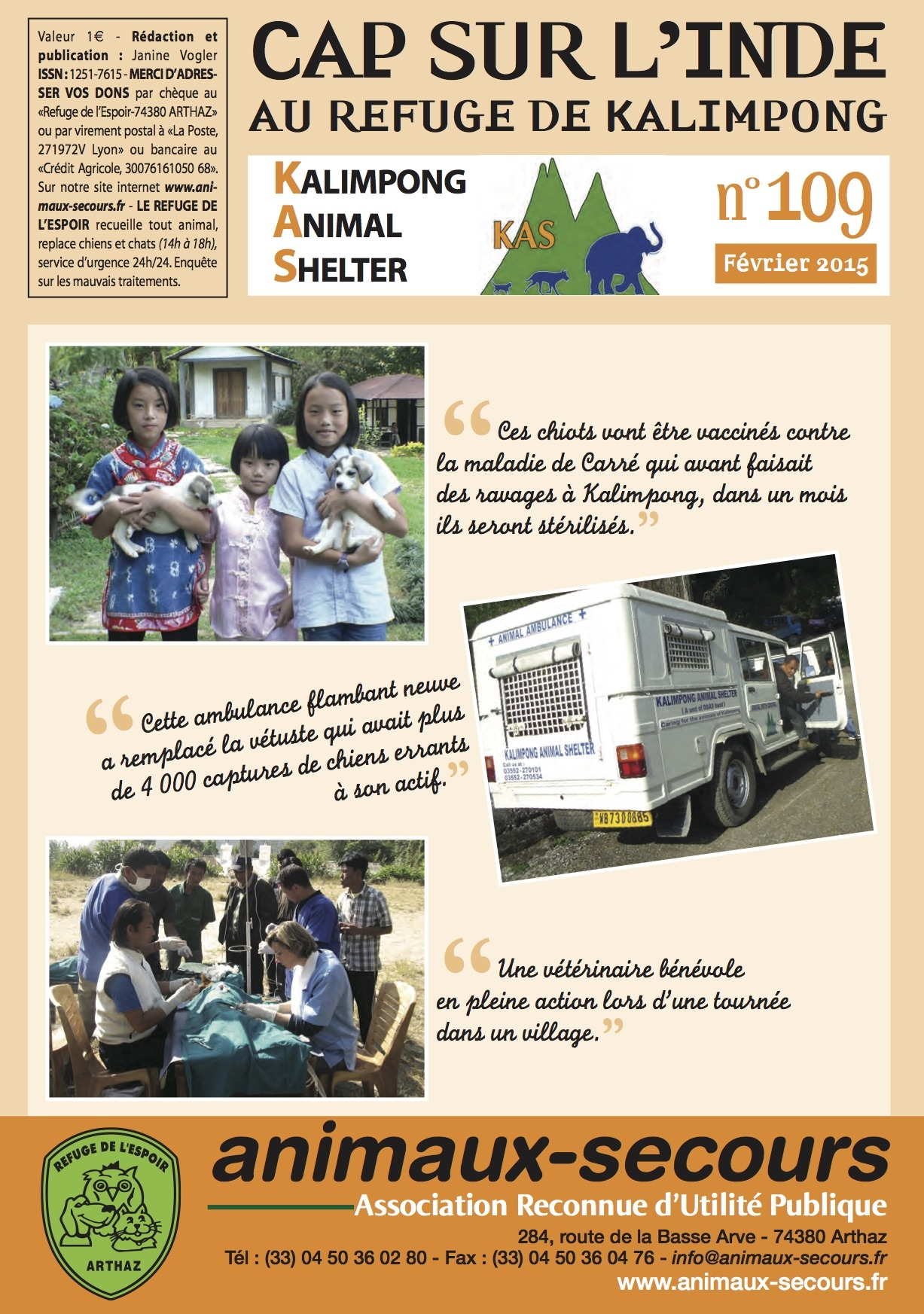 Newsletter N109 Février 2015 Animaux-Secours