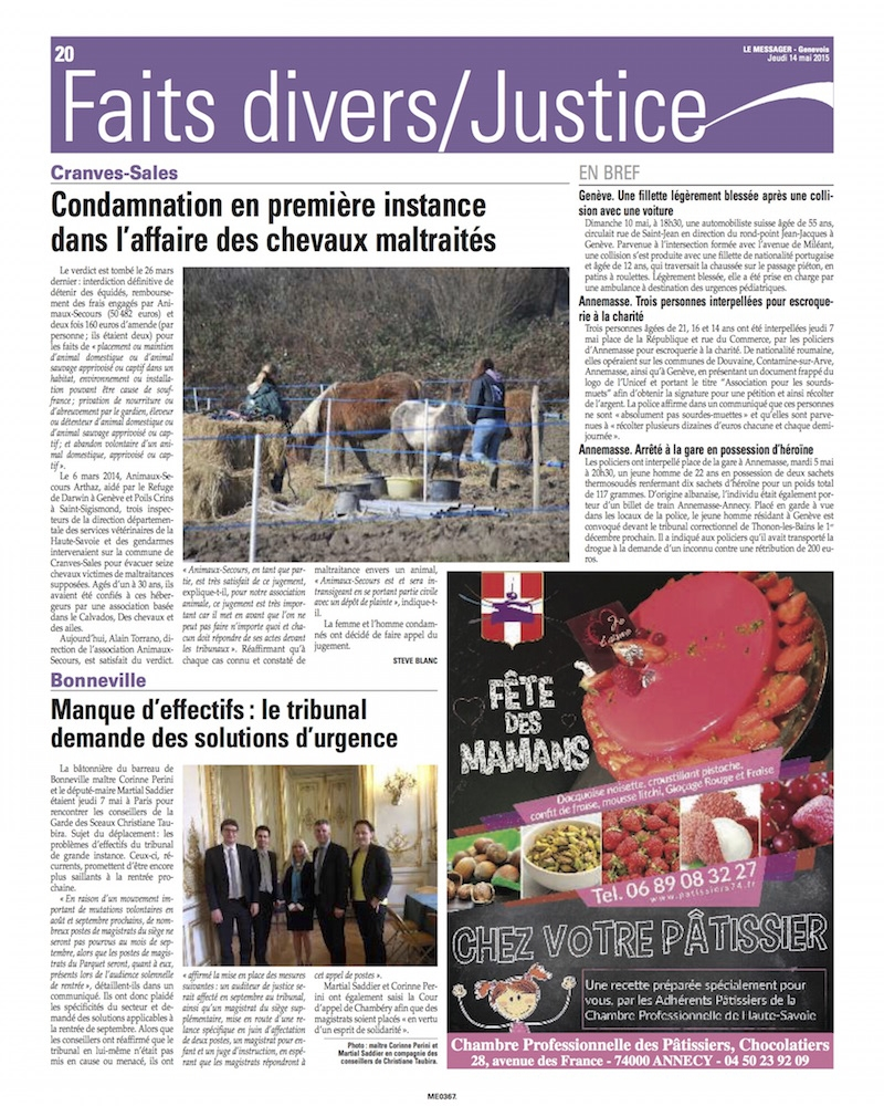 Article du messager du 14 mai animaux secours for Le divan 05 mai 2015