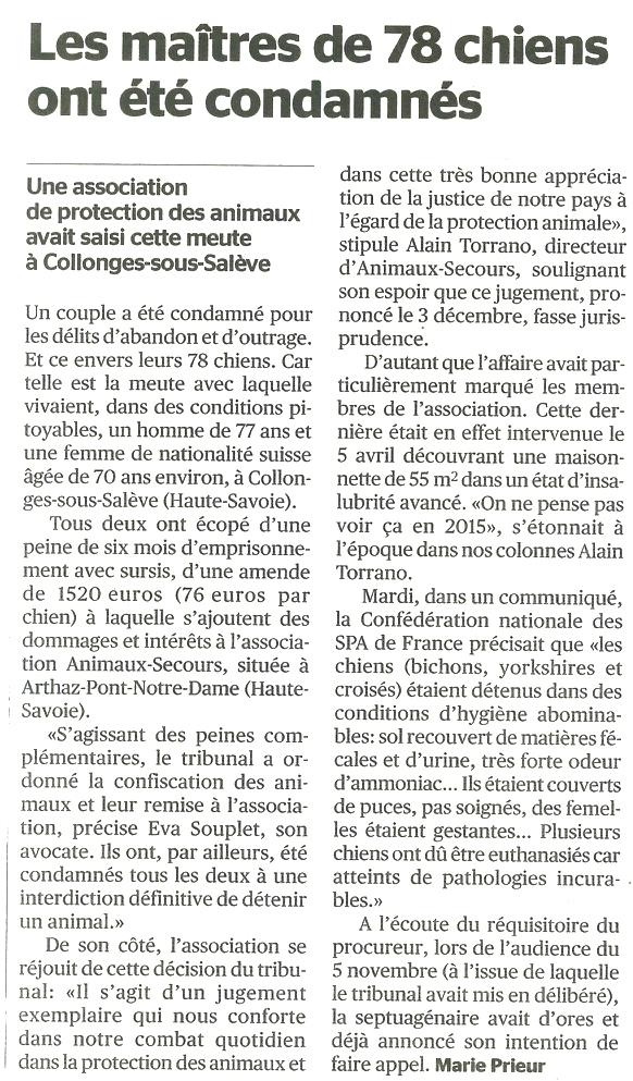 La Tribune de Genève du 11 décembre 2015